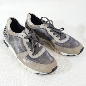 Paul Green Shimmer Metallic Stud Leather Sneakers